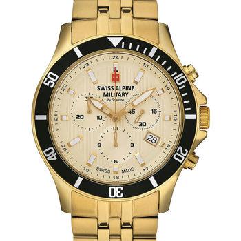 Ceasuri & Bijuterii Bărbați Ceasuri Analogice Swiss Alpine Military 7022.9111, Quartz, 42mm, 10ATM Auriu