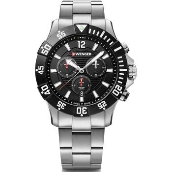 Ceasuri & Bijuterii Bărbați Ceasuri Analogice Wenger 01.0643.117, Quartz, 43mm, 20ATM Argintiu