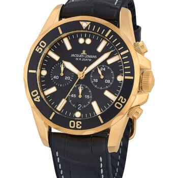 Ceasuri & Bijuterii Bărbați Ceasuri Analogice Jacques Lemans 1-2091E, Quartz, 43mm, 20ATM Auriu
