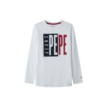 Îmbracaminte Băieți Tricouri cu mânecă lungă  Pepe jeans AARON Alb