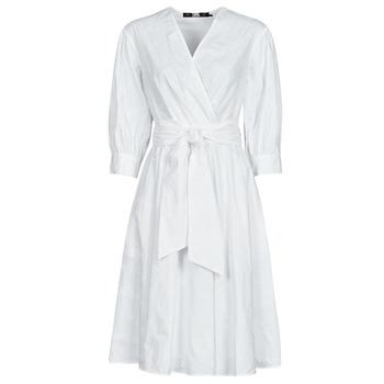 Îmbracaminte Femei Rochii scurte Karl Lagerfeld LOGO EMROIDERED SHIRT DRESS Alb