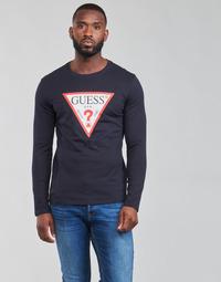 Îmbracaminte Bărbați Tricouri cu mânecă lungă  Guess CN LS ORIGINAL LOGO TEE Albastru