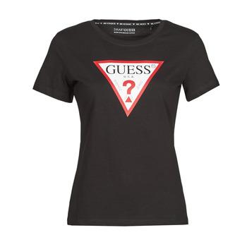 Îmbracaminte Femei Tricouri mânecă scurtă Guess SS CN ORIGINAL TEE Negru