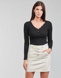 Îmbracaminte Femei Tricouri cu mânecă lungă  Guess ES LS V NECK LOGO HENLEY TEE Negru