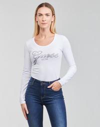 Îmbracaminte Femei Tricouri cu mânecă lungă  Guess LS CN RAISA TEE Alb