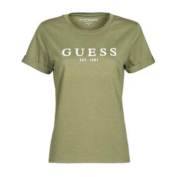 Îmbracaminte Femei Tricouri mânecă scurtă Guess ES SS GUESS 1981 ROLL CUFF TEE Kaki