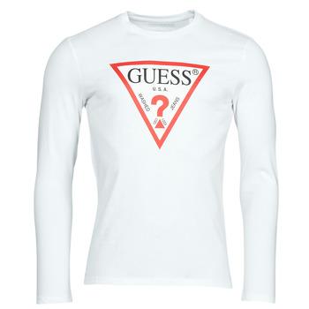 Îmbracaminte Bărbați Tricouri cu mânecă lungă  Guess CN LS ORIGINAL LOGO TEE Alb