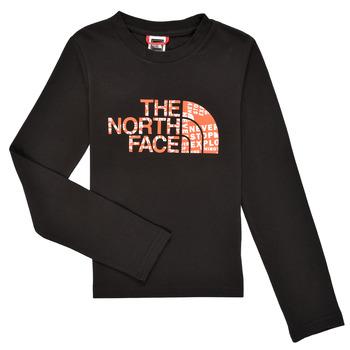 Îmbracaminte Băieți Tricouri cu mânecă lungă  The North Face EASY TEE LS Negru