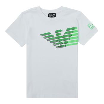 Îmbracaminte Băieți Tricouri mânecă scurtă Emporio Armani EA7 THAMIA Alb / Verde
