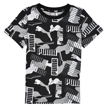 Îmbracaminte Băieți Tricouri mânecă scurtă Puma ALPHA AOP TEE Negru