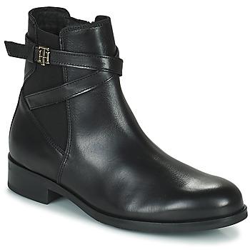 Pantofi Femei Ghete Tommy Hilfiger TH HARDWARE ON BELT FLAT BOOT Negru