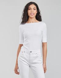 Îmbracaminte Femei Tricouri cu mânecă lungă  Lauren Ralph Lauren JUDY-ELBOW SLEEVE-KNIT Alb
