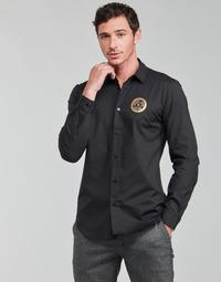 Îmbracaminte Bărbați Cămăsi mânecă lungă Versace Jeans Couture SLIM PRINT V EMBLEM GOLD Negru / Auriu