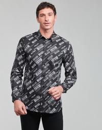 Îmbracaminte Bărbați Cămăsi mânecă lungă Versace Jeans Couture SLIM PRINT WARRANTY Negru / Alb