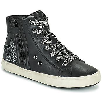 Pantofi Fete Pantofi sport stil gheata Geox KALISPERA Negru / Argintiu