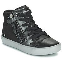 Pantofi Fete Pantofi sport stil gheata Geox GISLI Negru / Argintiu