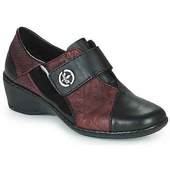 Pantofi Femei Mocasini Rieker HANTAR Negru / Bordo