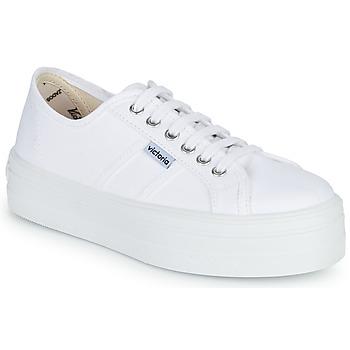 Pantofi Femei Pantofi sport Casual Victoria BLUCHER LONA PLATAFORMA Alb