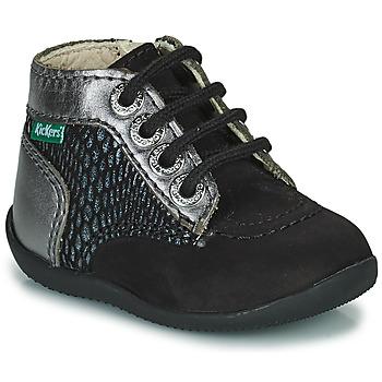 Pantofi Fete Ghete Kickers BONZIP-2 Negru / Argintiu