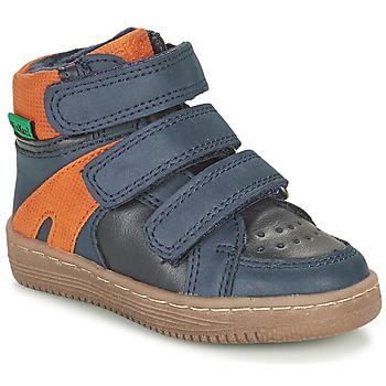 Pantofi Băieți Ghete Kickers LOGGAN Albastru / Portocaliu