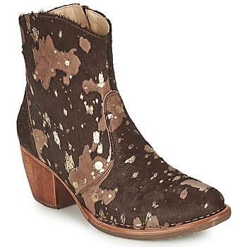 Pantofi Femei Botine Neosens MUNSON Maro / Auriu