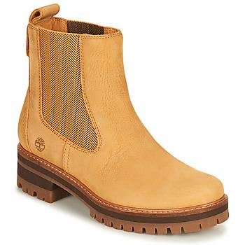 Pantofi Femei Ghete Timberland COURMAYEUR VALLEY CHELSEA Galben-grâu