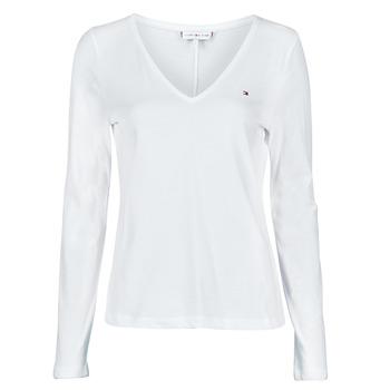 Îmbracaminte Femei Tricouri cu mânecă lungă  Tommy Hilfiger REGULAR CLASSIC V-NK TOP LS Alb