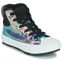 Pantofi Fete Pantofi sport stil gheata Converse CHUCK TAYLOR ALL STAR BERKSHIRE BOOT IRIDESCENT LEATHER HI Negru / Brillant