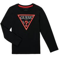 Îmbracaminte Băieți Tricouri cu mânecă lungă  Guess SOLEDAD Negru