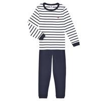 Îmbracaminte Băieți Pijamale și Cămăsi de noapte Petit Bateau TECHI Alb / Albastru