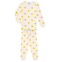 Îmbracaminte Fete Pijamale și Cămăsi de noapte Petit Bateau LERINU Alb / Galben