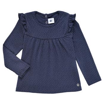 Îmbracaminte Fete Tricouri cu mânecă lungă  Petit Bateau IWAKA Albastru