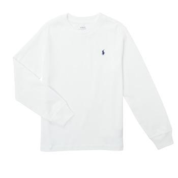 Îmbracaminte Băieți Tricouri cu mânecă lungă  Polo Ralph Lauren KEMILO Alb