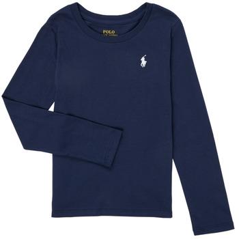 Îmbracaminte Fete Tricouri cu mânecă lungă  Polo Ralph Lauren TENINA Albastru