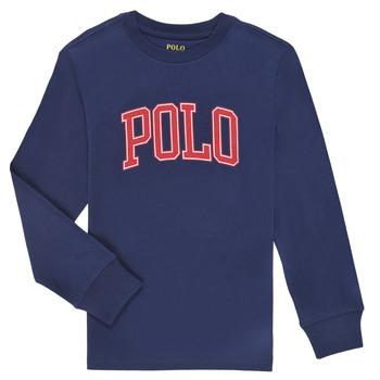 Îmbracaminte Băieți Tricouri cu mânecă lungă  Polo Ralph Lauren METIKA Albastru