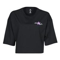 Îmbracaminte Femei Tricouri mânecă scurtă Converse CHUCK INSPIRED HYBRID FLOWER OVERSIZED CROPPED TEE Negru