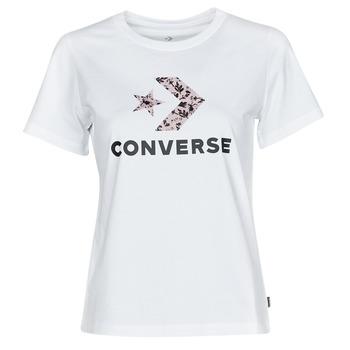Îmbracaminte Femei Tricouri mânecă scurtă Converse STAR CHEVRON HYBRID FLOWER INFILL CLASSIC TEE Alb