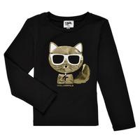 Îmbracaminte Fete Tricouri cu mânecă lungă  Karl Lagerfeld AMETHYSTE Negru