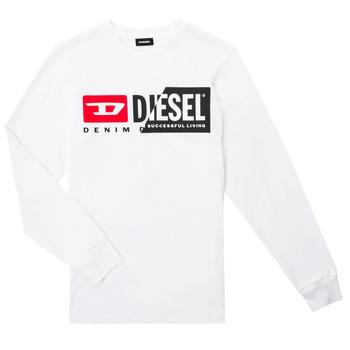 Îmbracaminte Copii Tricouri cu mânecă lungă  Diesel TDIEGOCUTY ML Alb