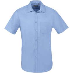 Îmbracaminte Bărbați Cămăsi mânecă scurtă Sols BRISTOL FIT Azul Medio Azul