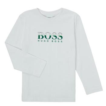Îmbracaminte Băieți Tricouri cu mânecă lungă  BOSS SOPELAS Alb
