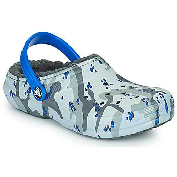 Pantofi Băieți Saboti Crocs CLASSIC LINED CAMO CG K Gri / Albastru