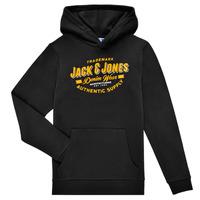 Îmbracaminte Băieți Hanorace  Jack & Jones JJELOGO SWEAT HOOD Negru