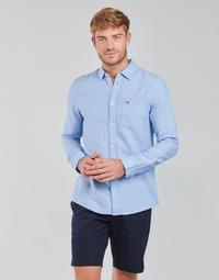 Îmbracaminte Bărbați Cămăsi mânecă lungă Tommy Jeans TJM LINEN BLEND SHIRT Albastru