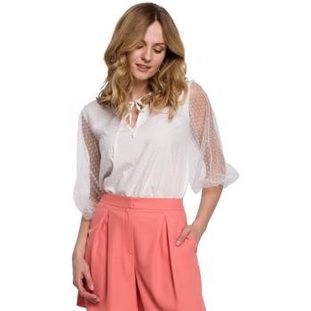 Îmbracaminte Femei Topuri și Bluze Makover K057 Bluză cu buline flocate - alb