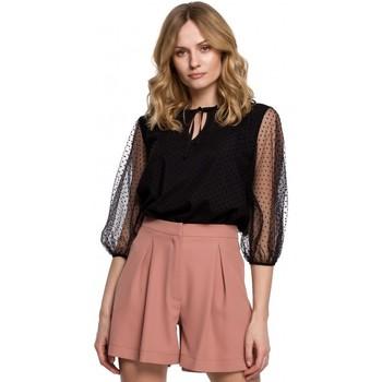 Îmbracaminte Femei Topuri și Bluze Makover K057 Bluză cu buline flocate - negru