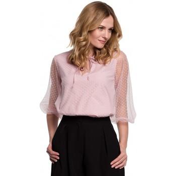 Îmbracaminte Femei Topuri și Bluze Makover K057 Bluză cu buline flocate - crep roz