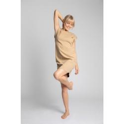 Îmbracaminte Femei Rochii scurte Lalupa LA033 Rochie de relaxare din bumbac cu nervuri - cappuccino