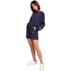 Îmbracaminte Femei Pantaloni scurti și Bermuda Be B186 Pantaloni scurți cu broderie - albastru