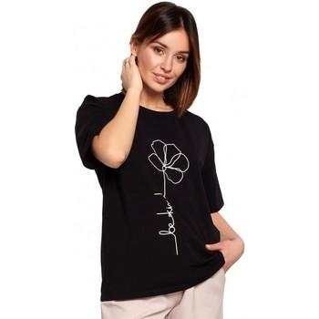 Îmbracaminte Femei Topuri și Bluze Be B187 Tricou cu imprimeu cu flori - negru